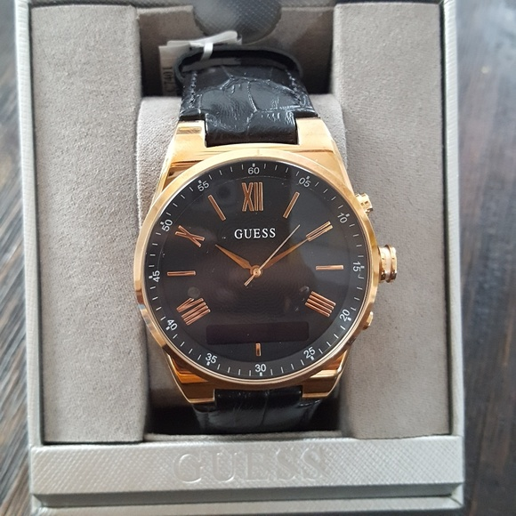 New Guess Black Rose Gold Leather Watch Mens Boutique